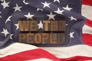 American flag with the words we the people.jpg Stock Photos