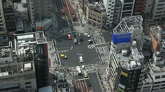 Aerial View of Tokyo Crossroad, Japan, Intersection, Commute, blurred logos - stock footage