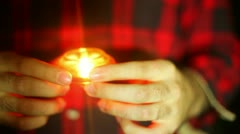 Candle vigil holding prayer memorial Stock Footage