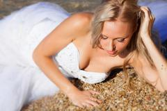 Bride on the beach Stock Photos