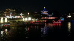 Fast motion of Nanjing Confucius Temple,Qinhuai River by night, Channel,China Stock Footage