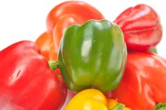 bulgarian peppers on a white background - stock photo