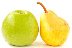 green apple and pear - stock photo