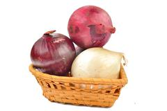 white and red onion on a white background - stock photo