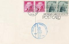 Usa stamped postcard posted from statue of liberty 1976 Stock Illustration
