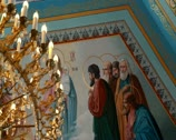 Stock Video Footage of The painted ceiling in the Orthodox Church