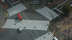 Hachiko Huge Intersection Shibuya Crossing Famous Tokyo City Center Cars Passing - stock footage