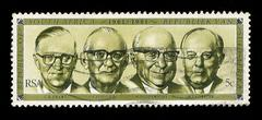 South africa postage stamp state presidents 1961-1981 Stock Illustration