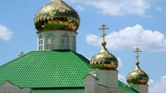 Golden domes of the orthodox church Stock Footage