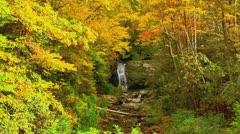 Beautiful autumn waterfall zoom in Stock Footage