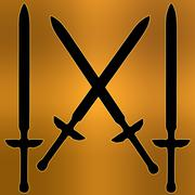coat of arms golden cross sword silhouette - stock illustration