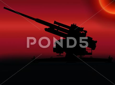 Stock Illustration of ww2 sunset anti aircraft gun