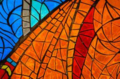 stained-glass window. made in ussr - stock photo