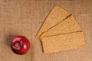 Red apple with crispbread Stock Photos