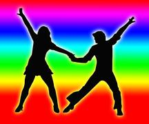 color bands back dancing couple 70s - stock illustration