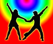 color circles dancing couple 70s - stock illustration