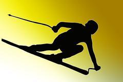 Gold back sport silhouette - speeding skier Stock Illustration
