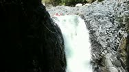 Stock Video Footage of Duende waterfall jump in kayak in Ecuadorian rain forest HD slow motion