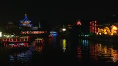Old town in Nanjing and Qinhuai River by night, Nanjing, China Stock Footage