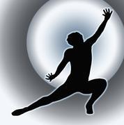spotlight back dancing lady kneeling spread leg - stock illustration