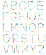 alphabet paperclips uppercase letters - stock photo