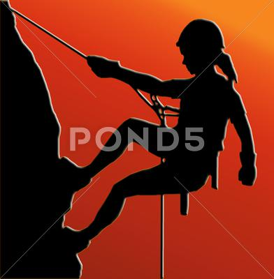 Stock Illustration of sunset back abseiling lady