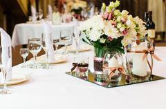 Table setting for wedding dinner. Stock Photos