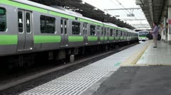 Yamanote Line Trains At Ueno Station Stock Footage
