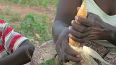 Burkina Faso: Husking Corn Stock Footage