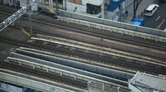 Regional Train Passing, Tokyo Railway, Japan, Speed Train, Metropolitan Area Stock Footage