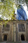 St Helen's Bishopsgate in the shadow of the Gherkin in London Stock Photos