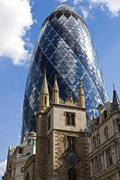 St Andrew Undershaft Church and the Gherkin Stock Photos