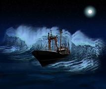 sinking ship at night - stock illustration