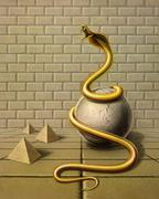 Stock Photo of golden snake in surreal ambiance