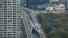 Modern Freeway, Aerial View of Tokyo Highway, Japan, Commute, Metropolitan Area Stock Footage