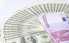 dollars. euro. - stock photo