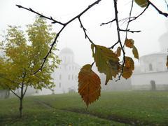 Autumn and ancient churches Stock Photos