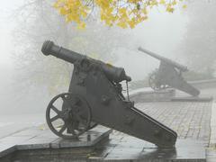 guns in the fog - stock photo