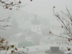 Kiev in the fog - stock photo