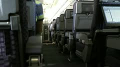 Airplane Cabin, Passengers, Seats, Flights Stock Footage