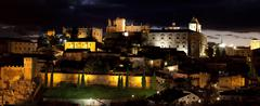 monumental city of cáceres of night - stock photo