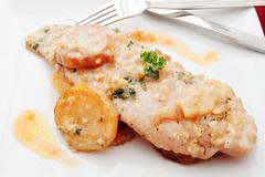 hake cooked dish - stock photo