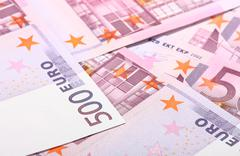 five-hundredth euro banknotes - stock photo
