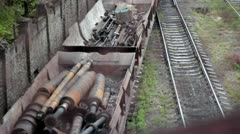 The train carrying scrap metal Stock Footage