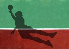 not quite tennis -soccer goalie silhouette against practice wall - stock illustration