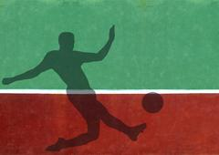 not quite tennis - soccer player silhouette against practice wall - stock illustration