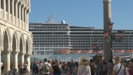 Stock Video Footage of Venice, Cruise-Ship passing St Marks Square