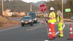 720p Road Construction Stop Sign 2 Stock Footage