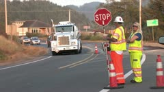720p Road Construction Stop Sign Stock Footage