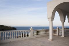 Aegean balcony at dusk - stock photo